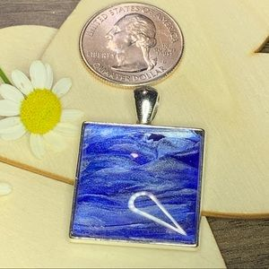 Jewelry - Handmade acrylic pour blue/silver WAVE  pendant